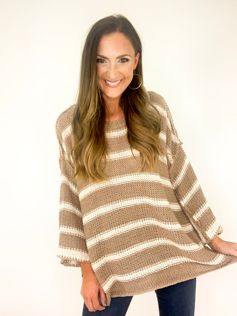 Mocha Oversize Striped Knit Sweater