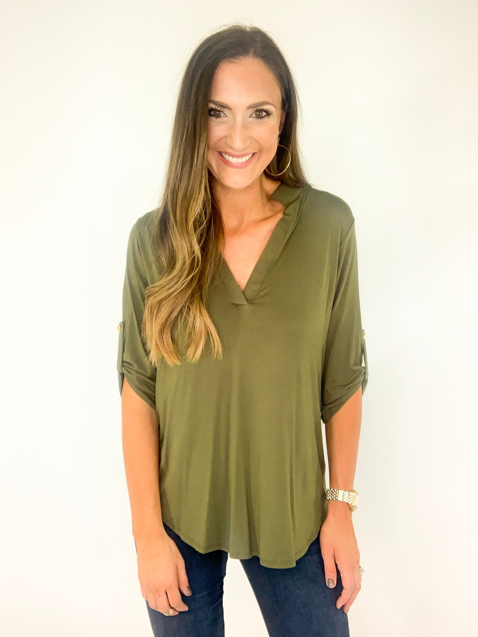 Three Quarter Roll Up Button Sleeve Tunic
