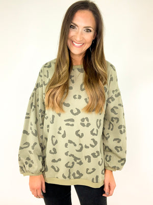 Balloon Sleeve Leopard Sweatshirt