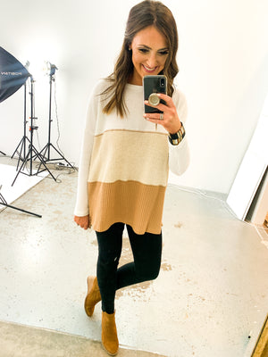 Neutral Colorblock Waffle Long Sleeve Top