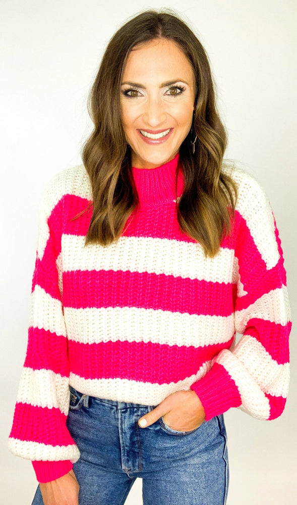 Hot Pink and White Striped Mock Neck Sweater