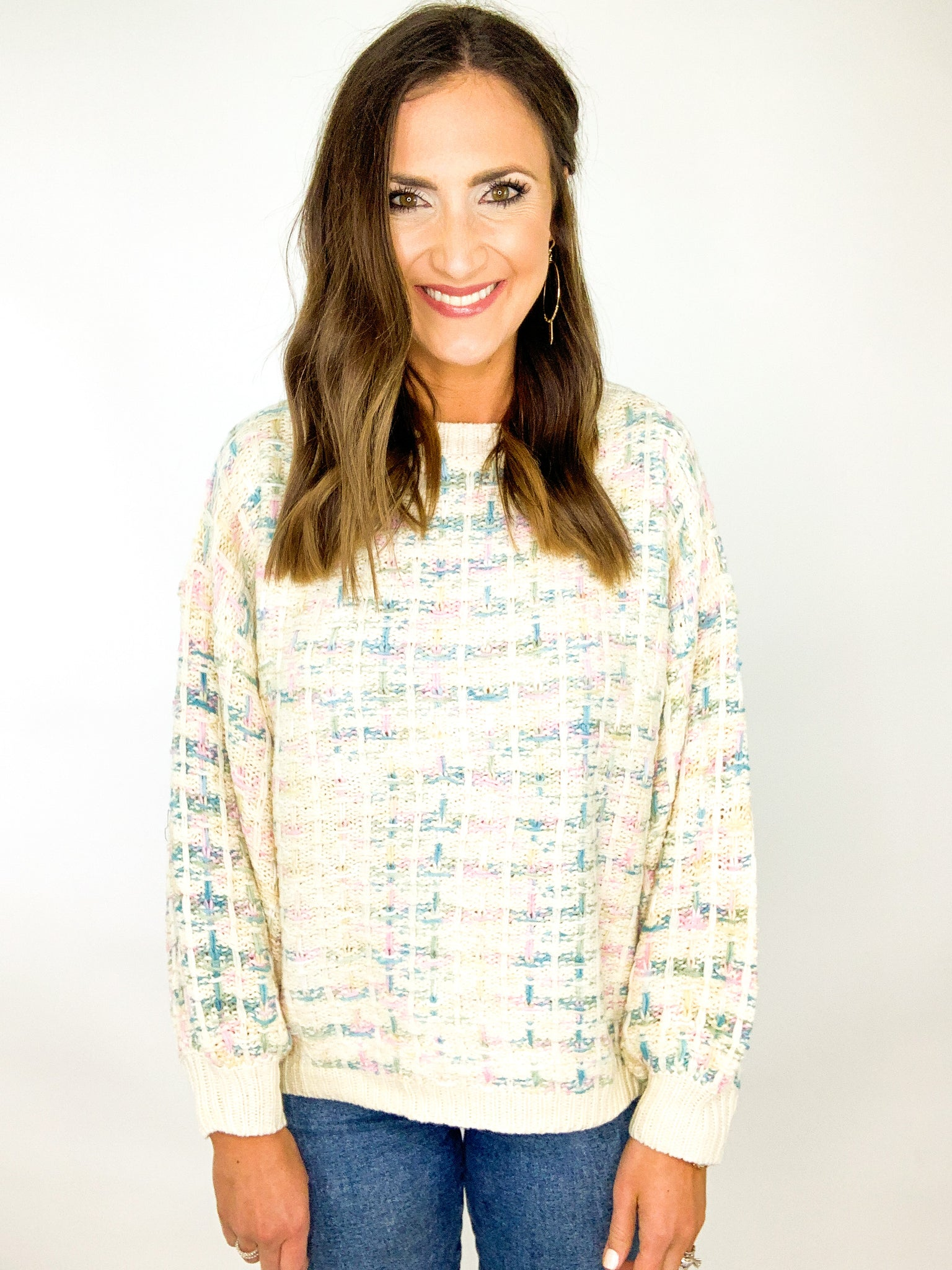 Cotton Candy Tweed Sweater