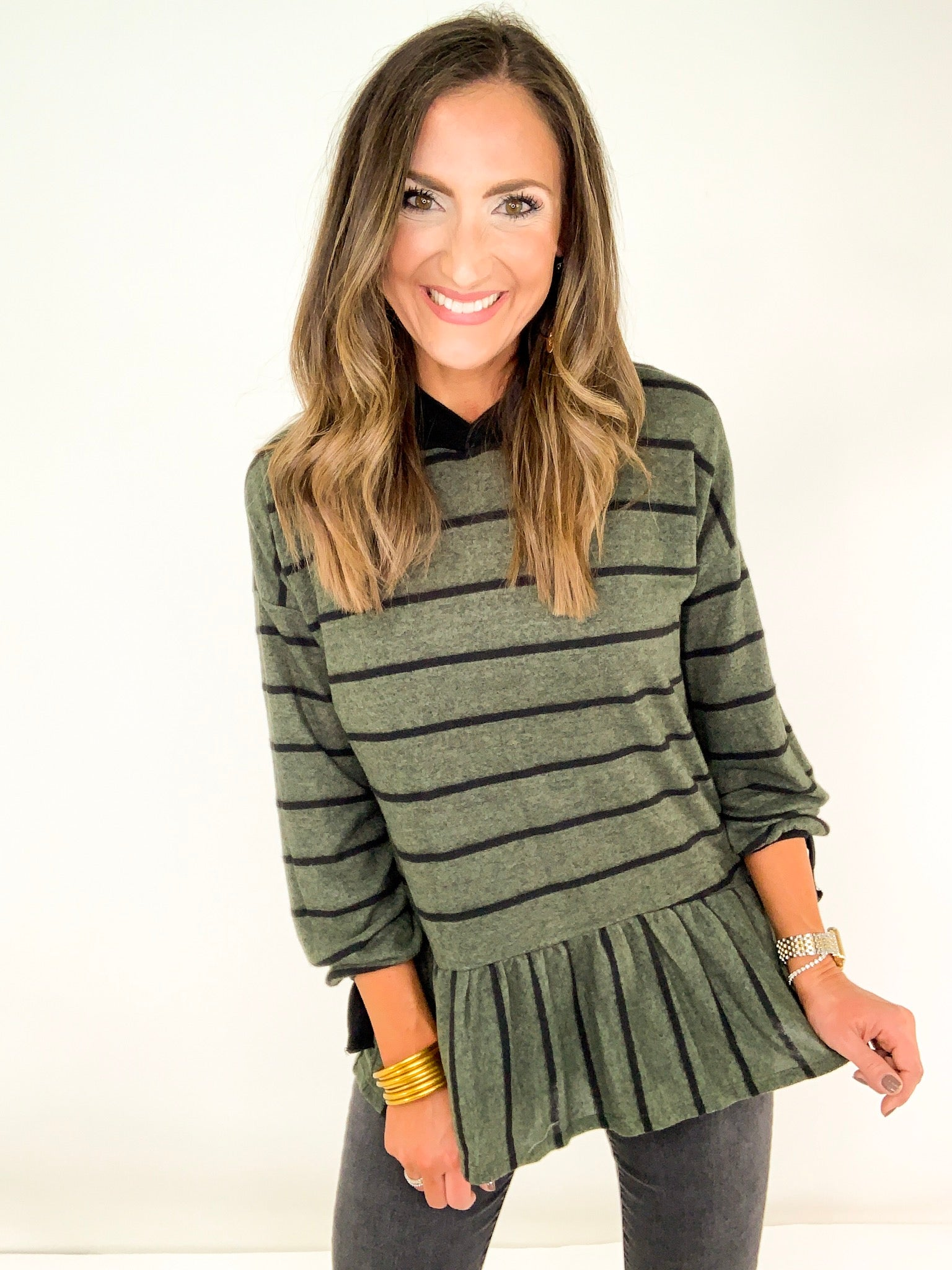 Striped Olive Tunic w/ Hood and Ruffle Detail
