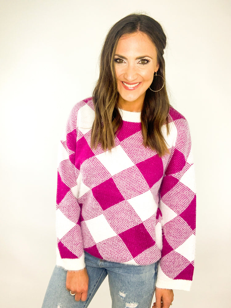Load image into Gallery viewer, Fuchsia Checkered Sweater