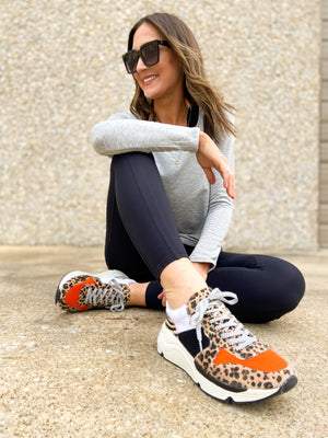 Load image into Gallery viewer, Orange and Animal Print Runner Sneakers