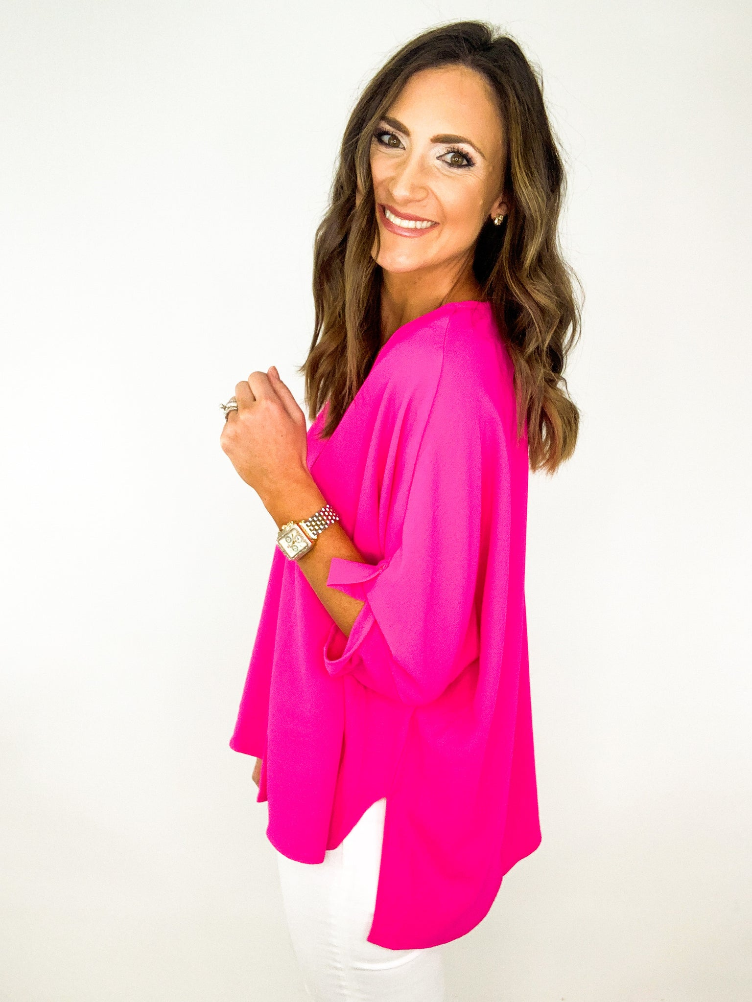 Hot Pink V Neck Blouse w/ Split Hem