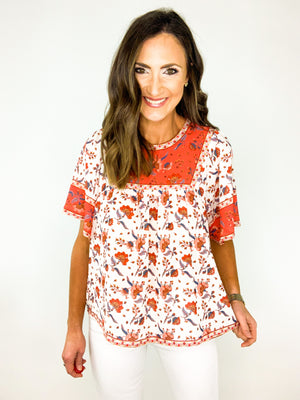 Load image into Gallery viewer, Floral Print Flutter Short Sleeve Top *FINAL SALE*