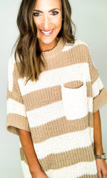 Taupe and Cream Oversized Stripe Sweater