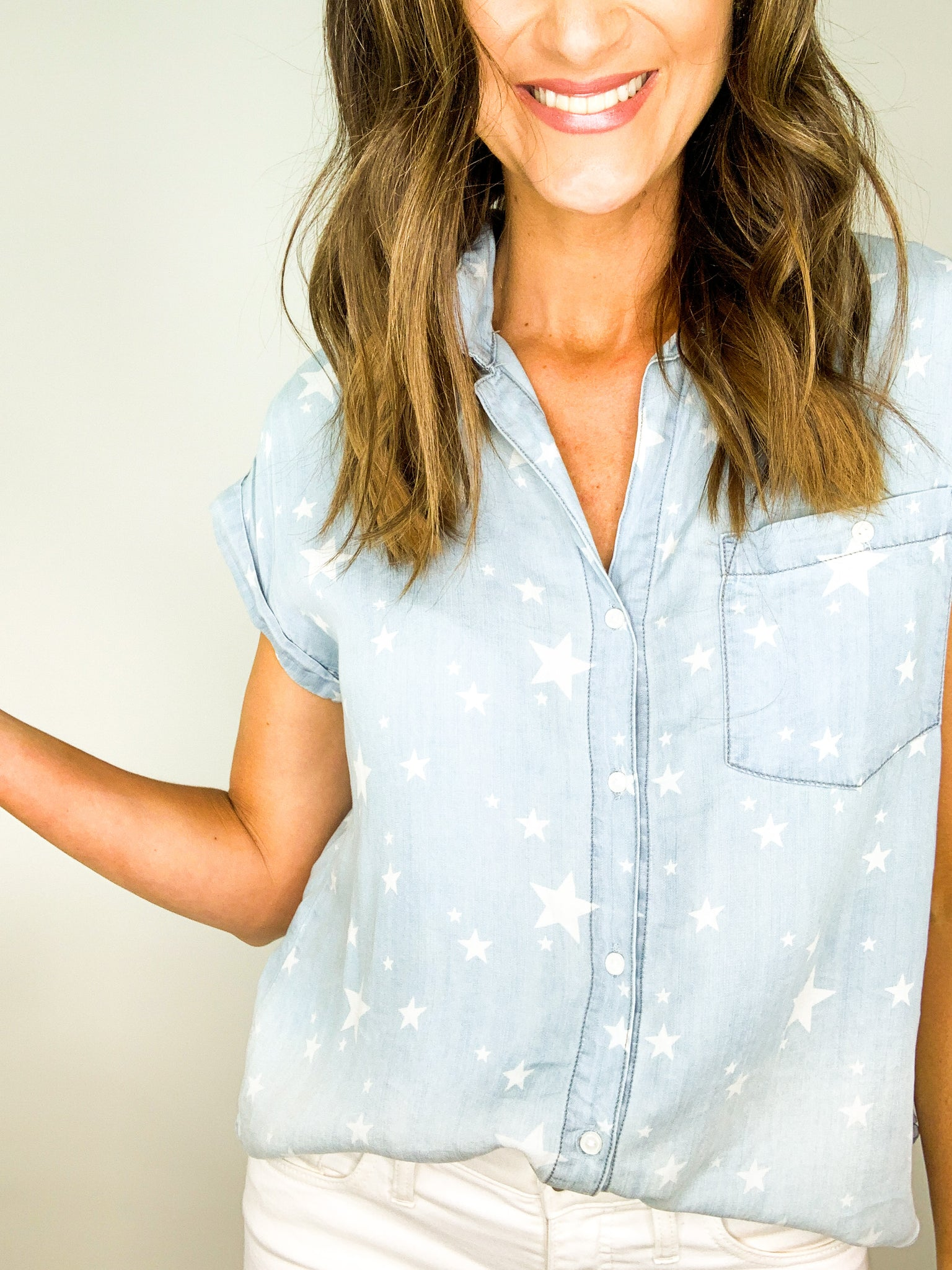 Chambray Short Sleeve Button Down Star Top