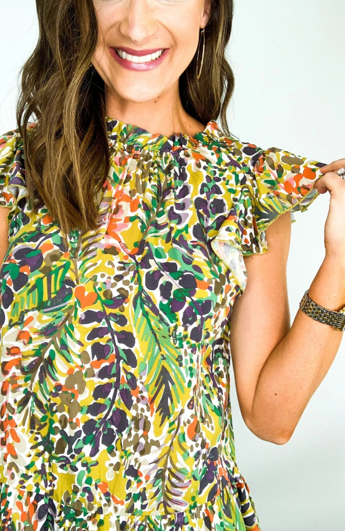 Watercolor Floral Print Mock Neck Top