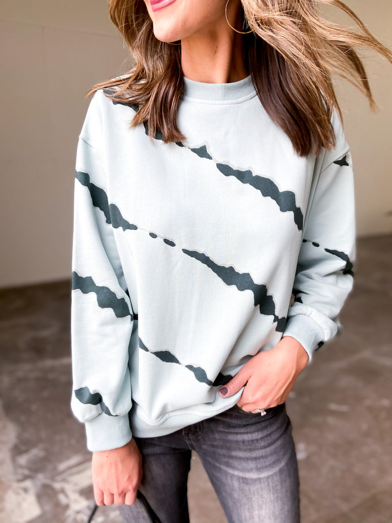 Seafoam and Navy Tie Dye Pullover