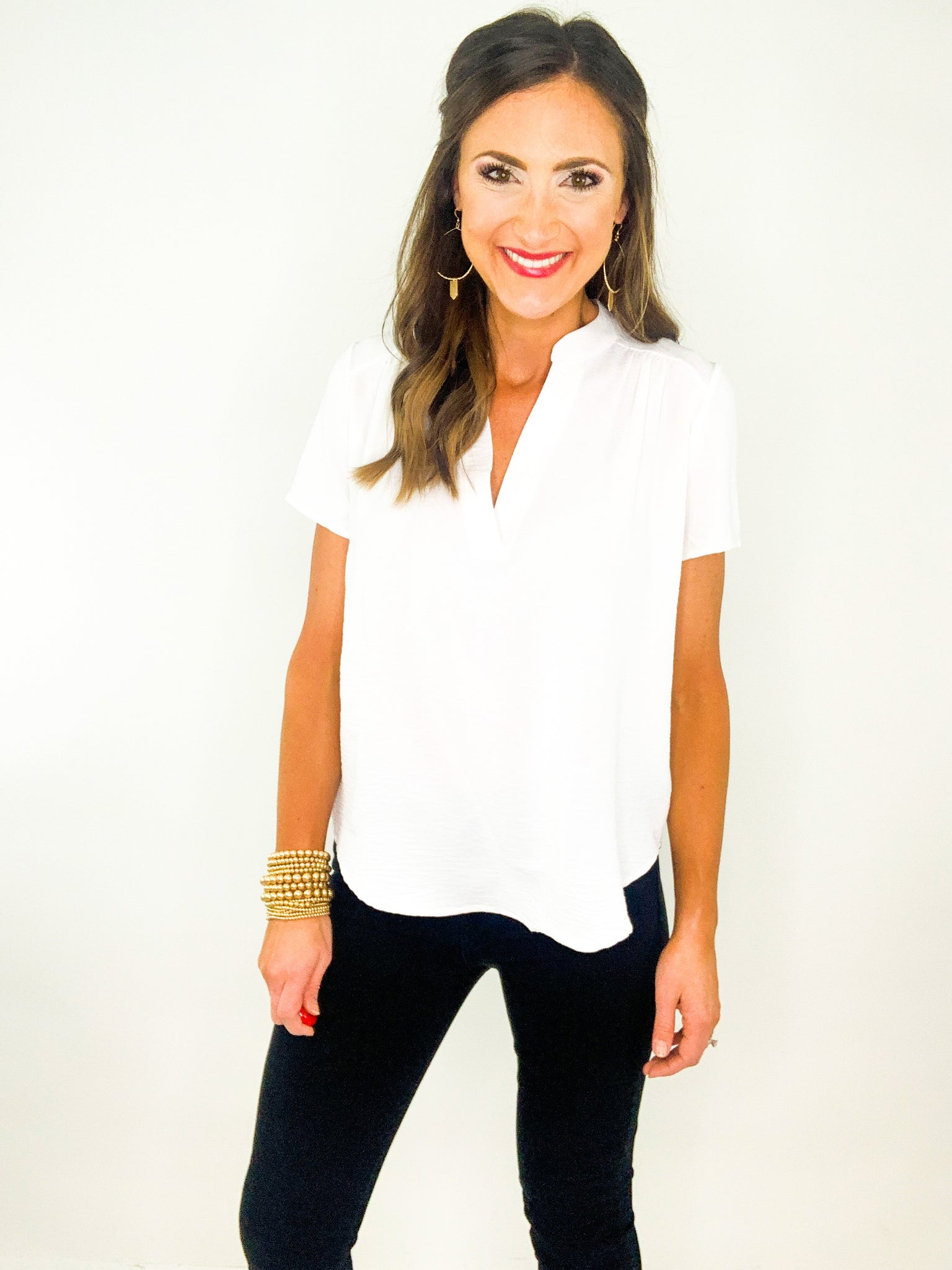 Ivory Short Sleeve V Neck Top