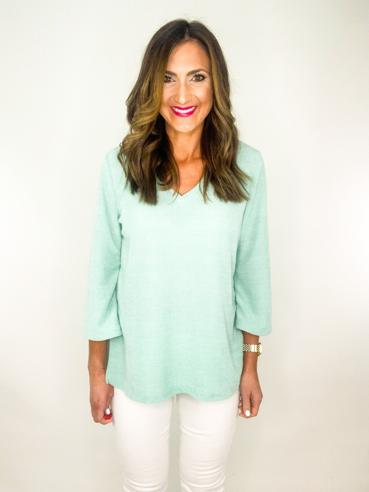 Mint Chenille V Neck 3/4 Sleeve