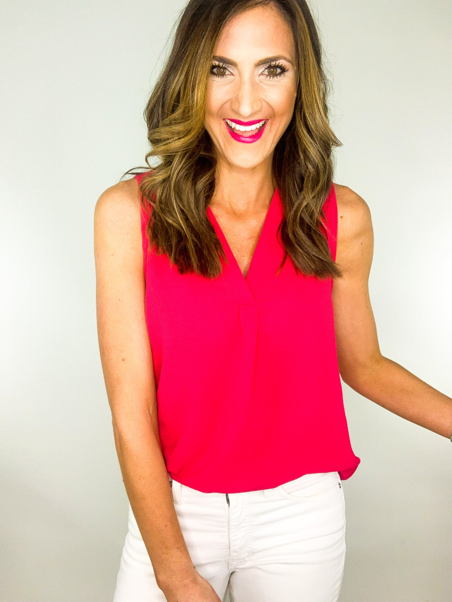 Fuchsia V Neck Sleeveless Top