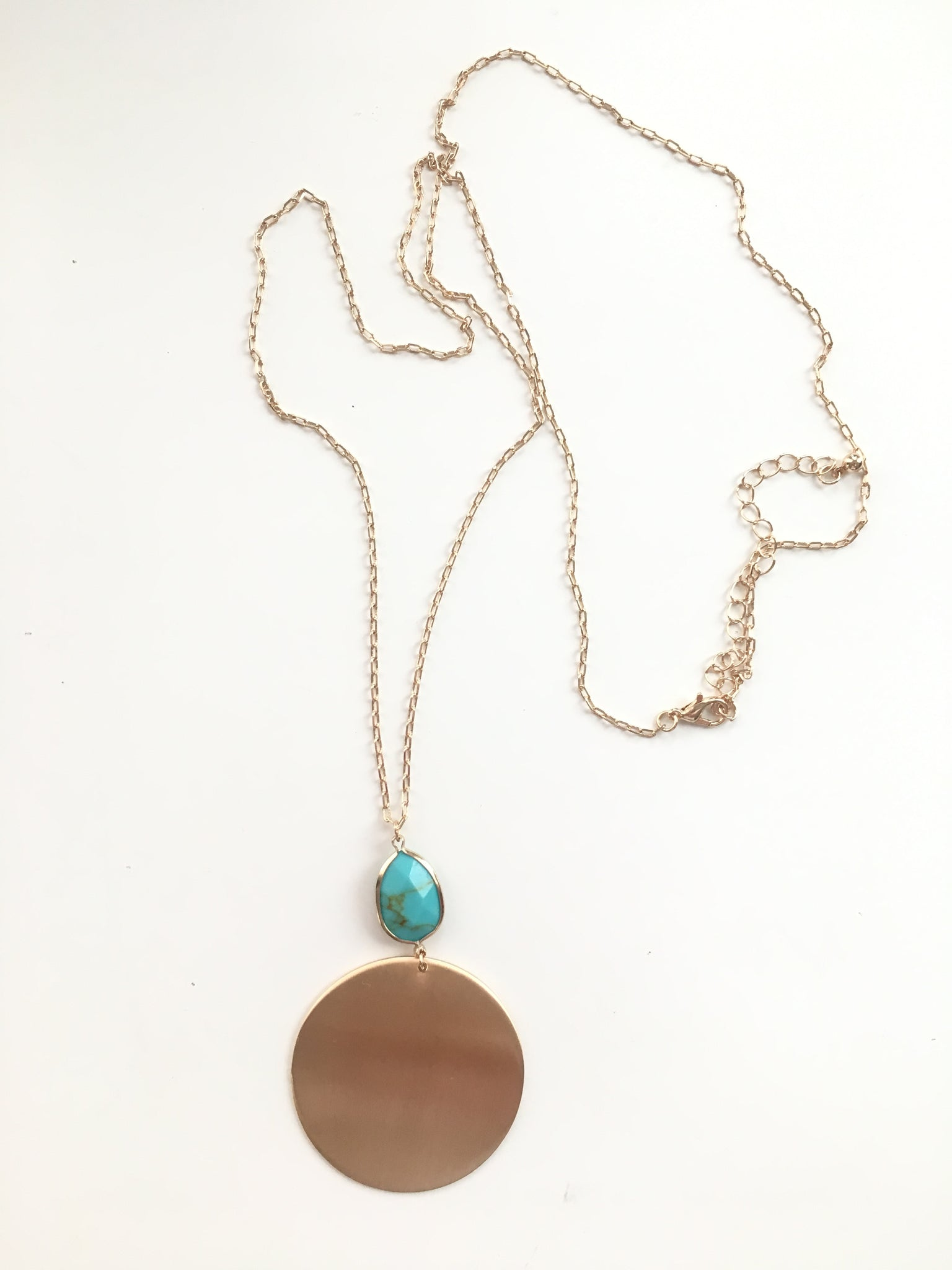 Long Gold Circle Necklace with Turquoise Stone
