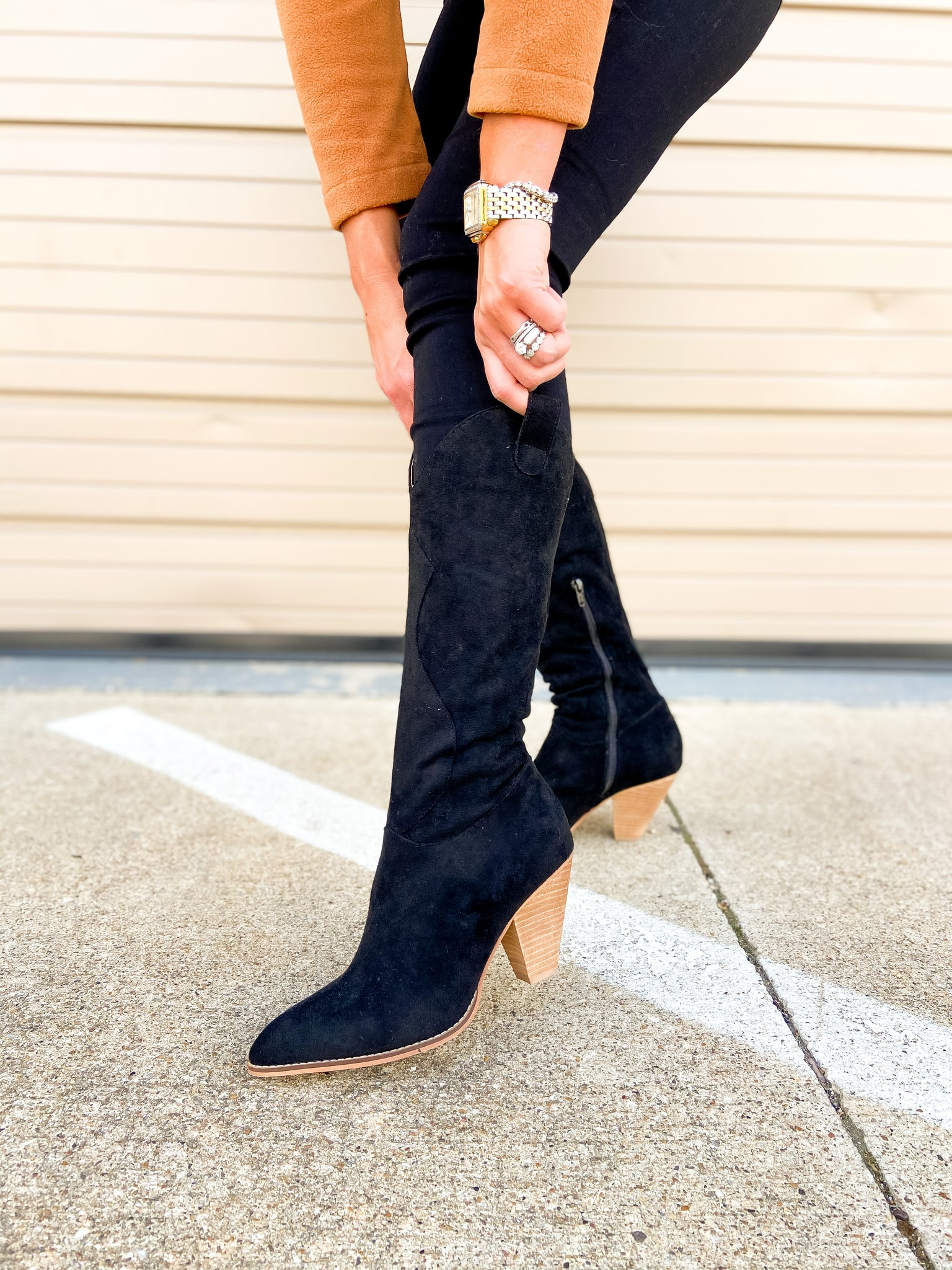 Black Stacked Heel Western Inspired Boots
