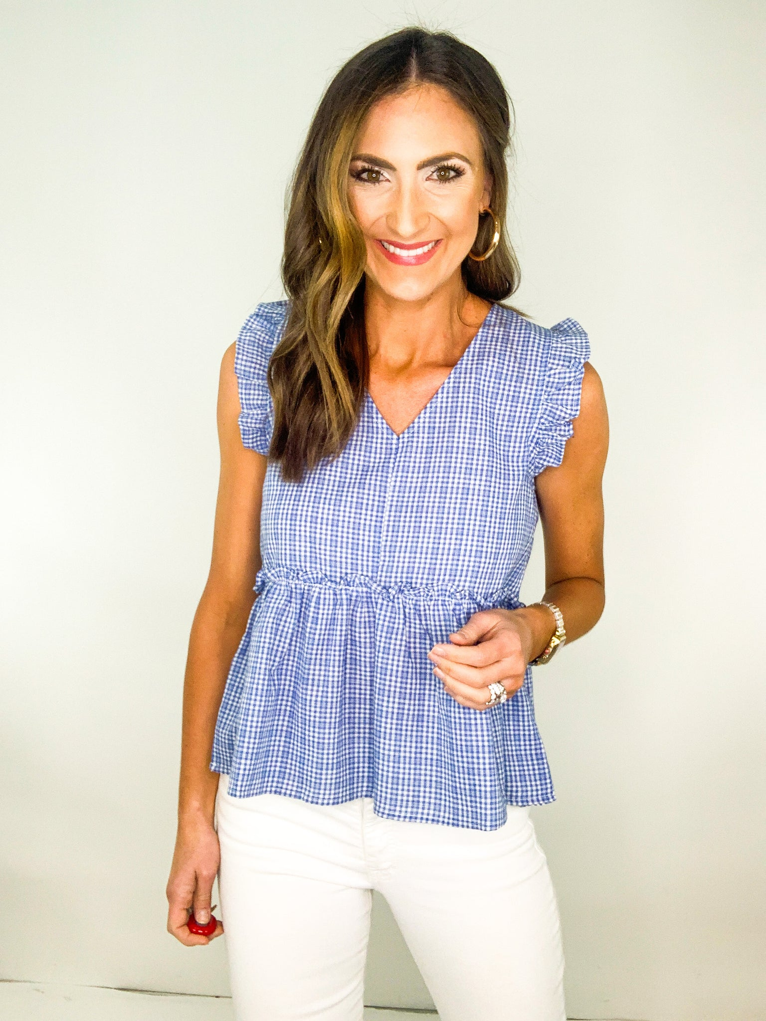 Light Blue Gingham Top w/ Flutter Sleeve and Ruffle Hem