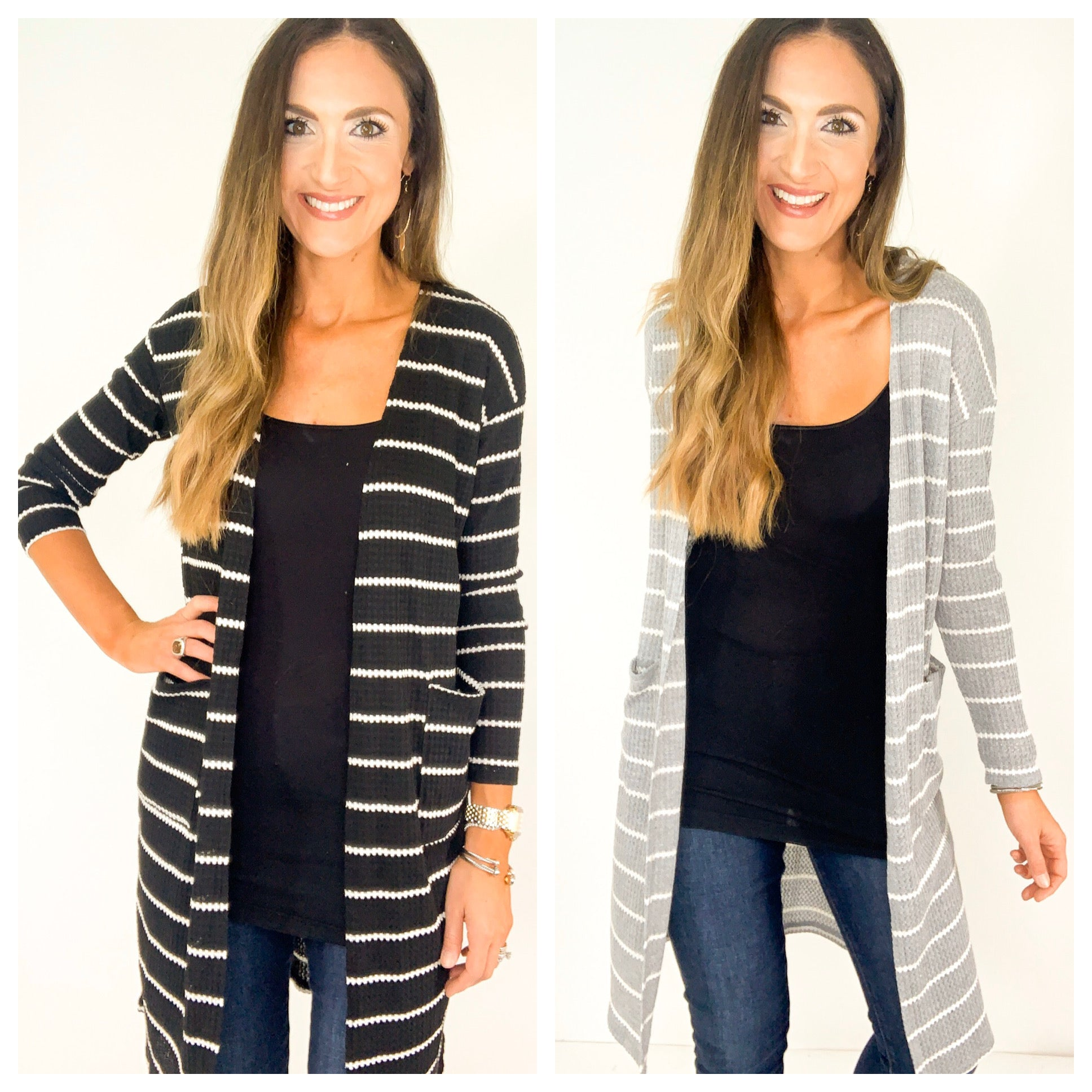 Striped Thermal Open Front Cardigan