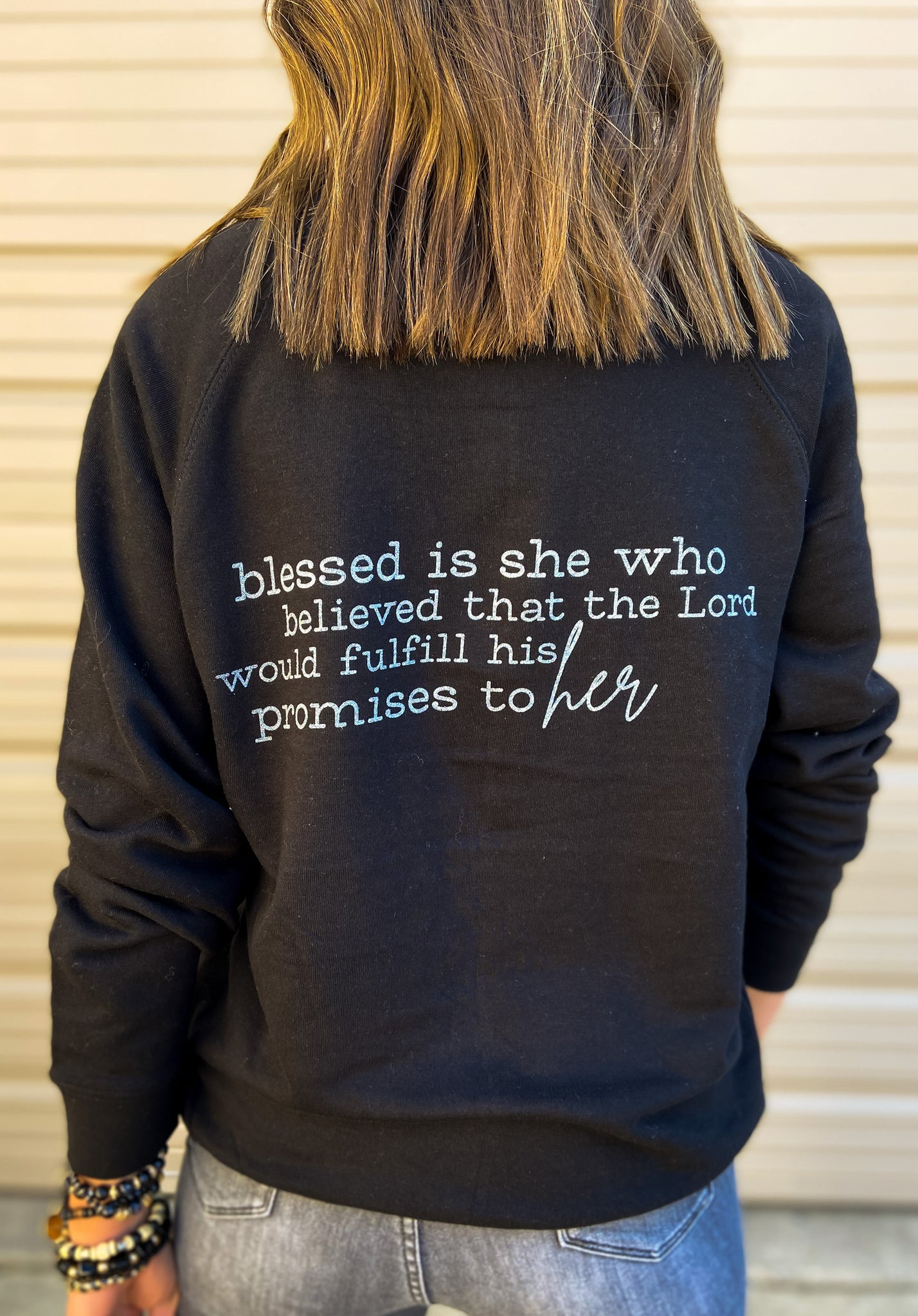 Luke 1:45 Scripture Sweatshirt Black