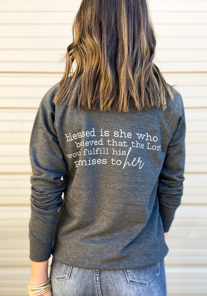 Luke 1:45 Scripture Sweatshirt Charcoal