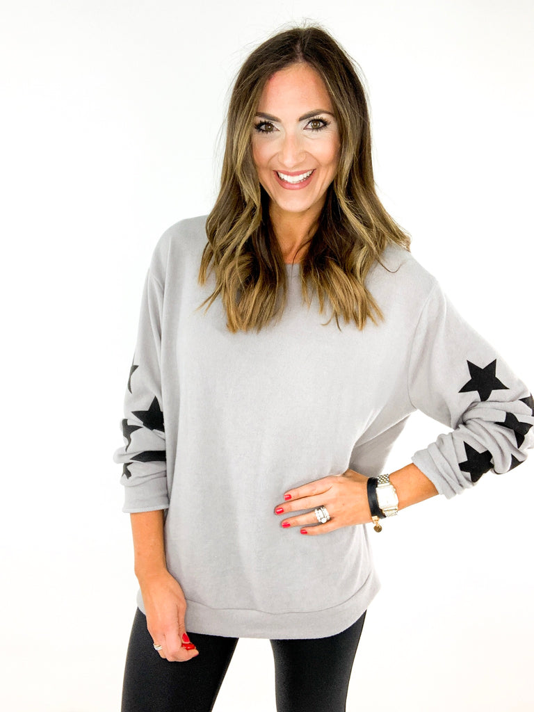 Grey Star Sleeve Graphic Sweatshirt