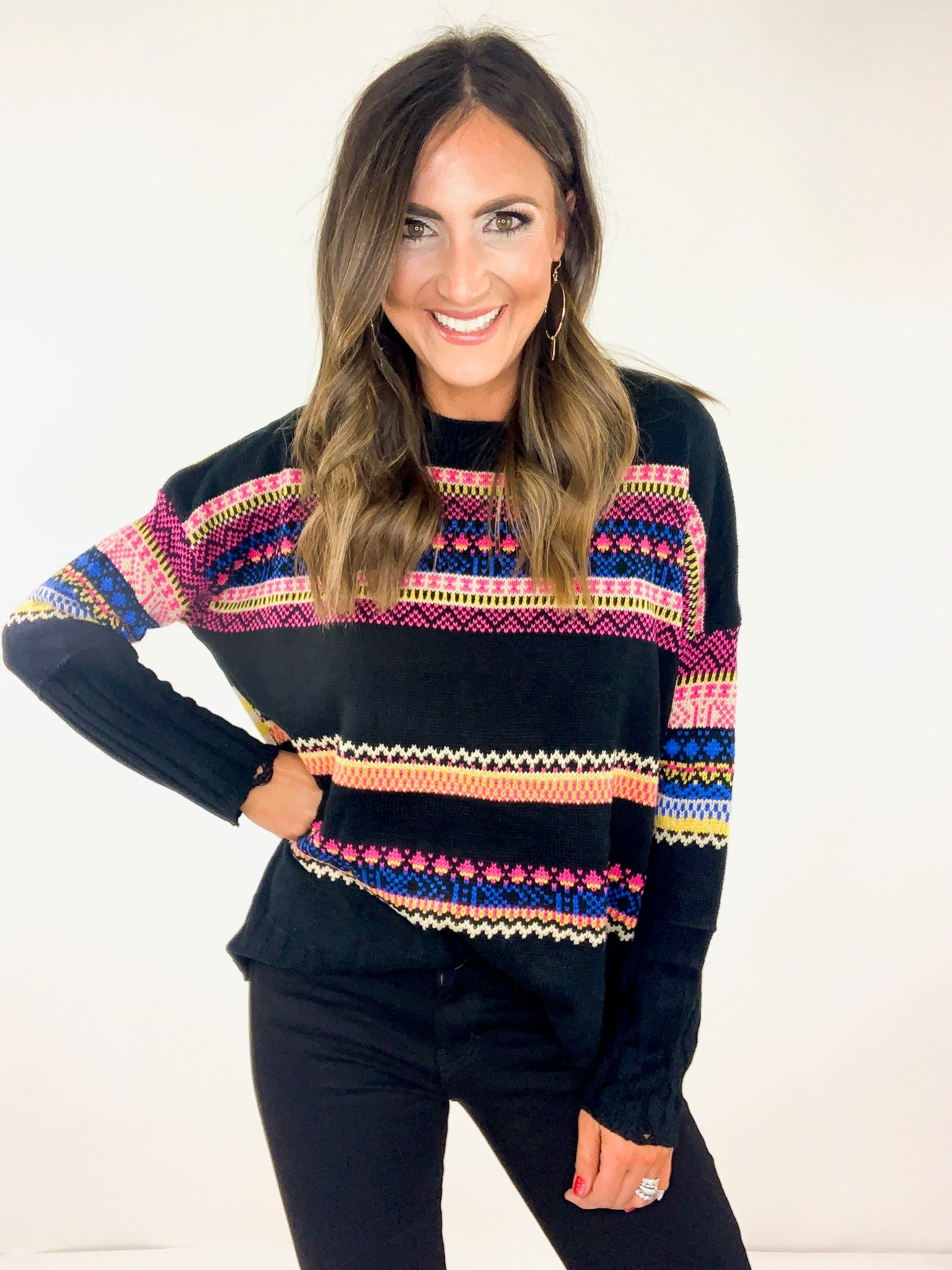 Black Pullover w/ Colorful Boho Pattern Stripes