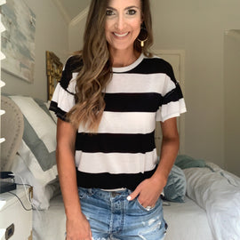 Black and White Wide Stripe Tee with Gathred Sleeves