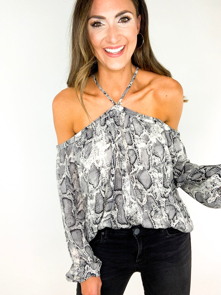 Load image into Gallery viewer, Snakeskin Cold Shoulder Top