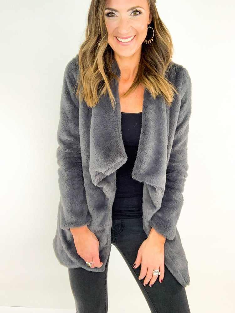 Load image into Gallery viewer, Charcoal Sherpa Long Open Jacket