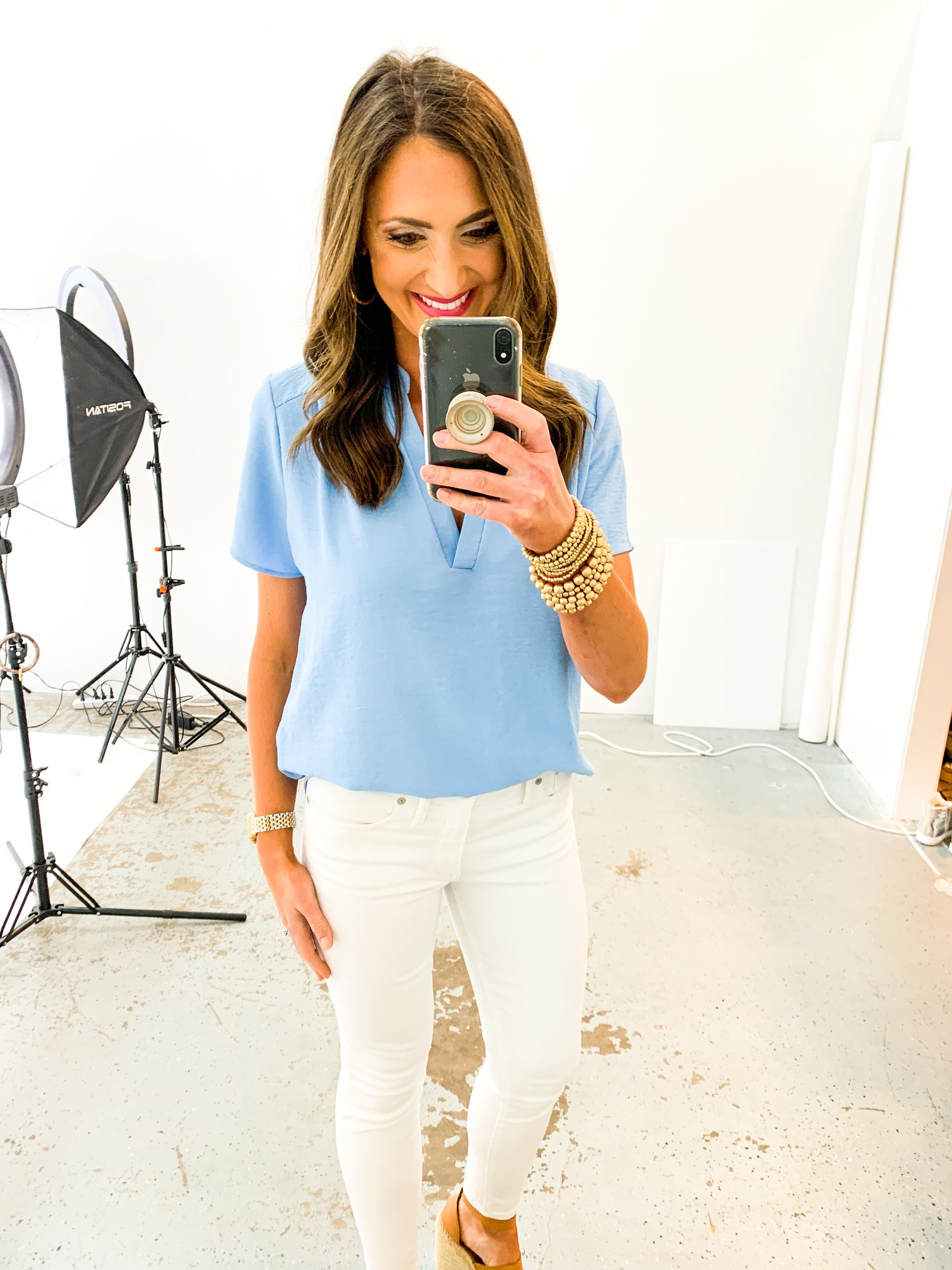 Light Blue Short Sleeve V Neck Top