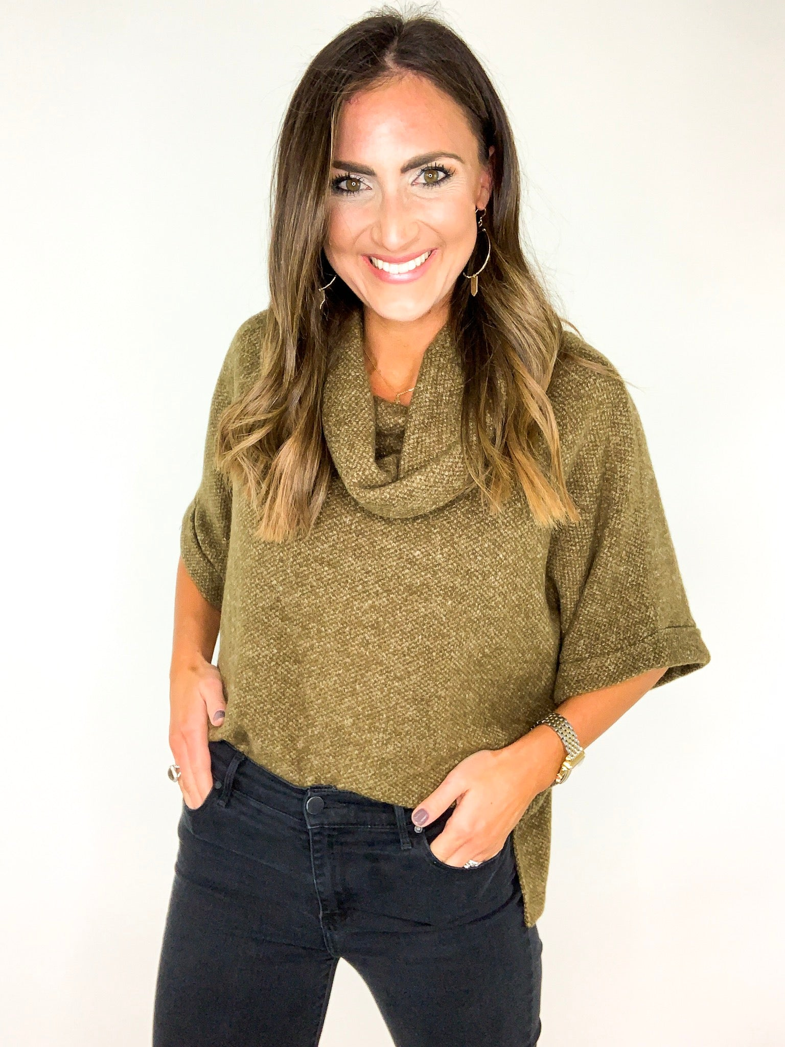 Olive 3/4 Rolled Sleeve Cowl Neck Sweater