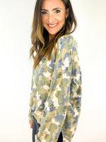 Long Sleeve Camo Distressed Top
