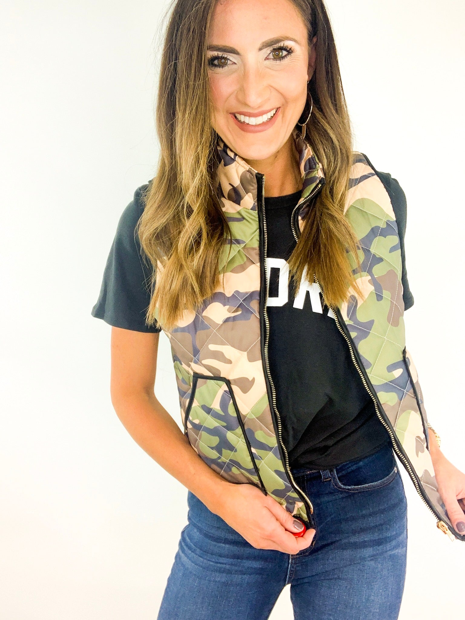 Camo Print Quilted Vest