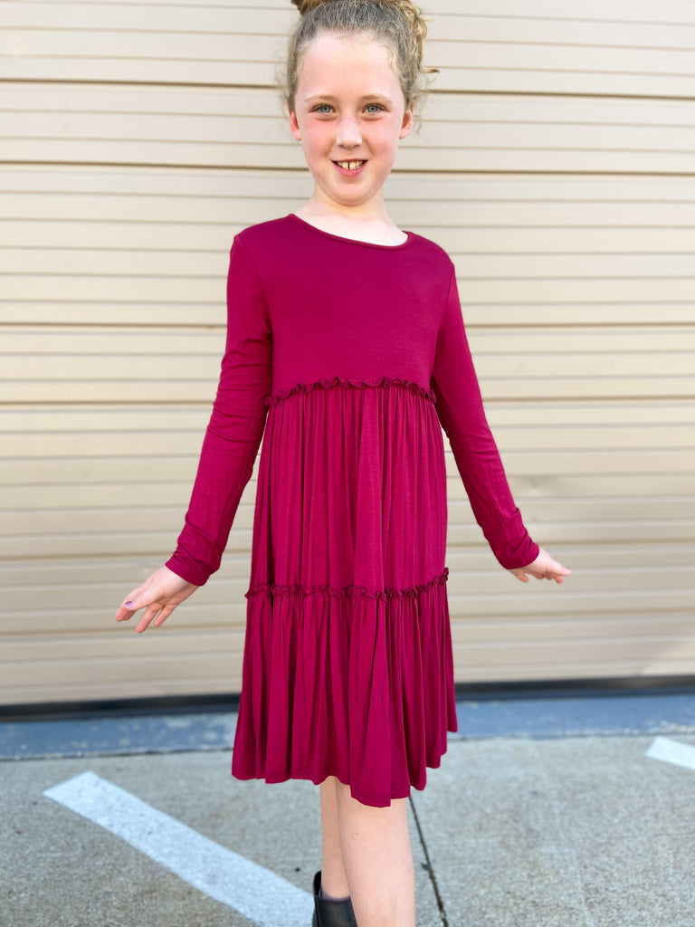 Kids Burgundy Long Sleeve Tiered Ruffle Dress