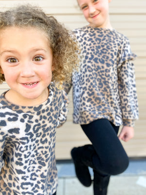 Load image into Gallery viewer, Kid's Brushed Animal Print Top w/ Ruffles