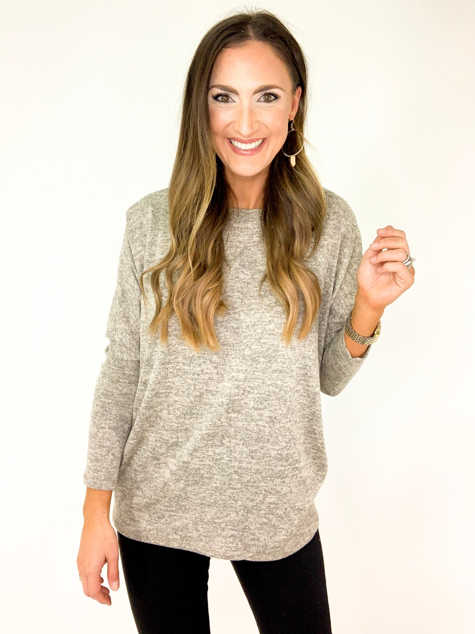 Dolman Knit Top w/ Back Buttons