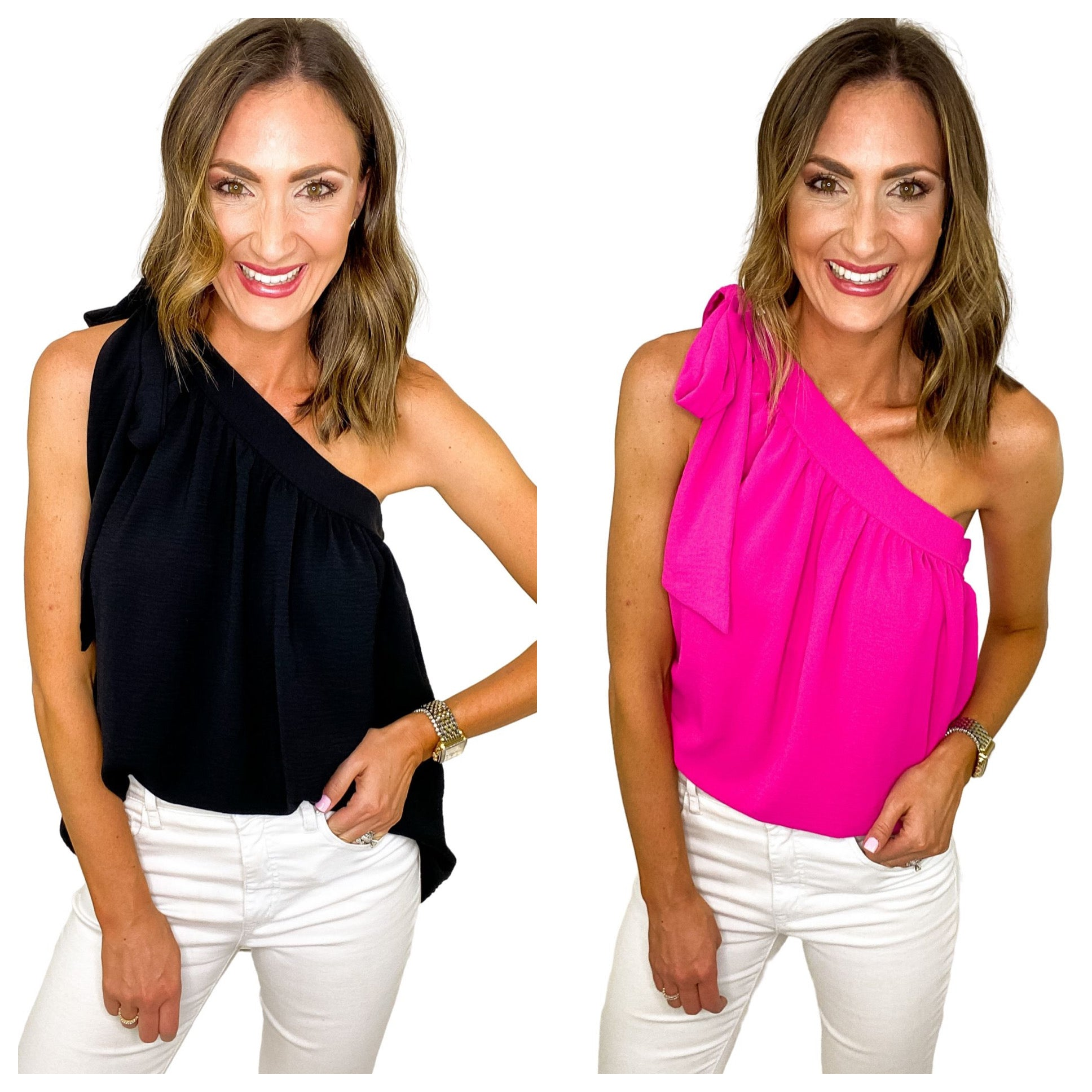 Hot Pink One Shoulder Bow Top