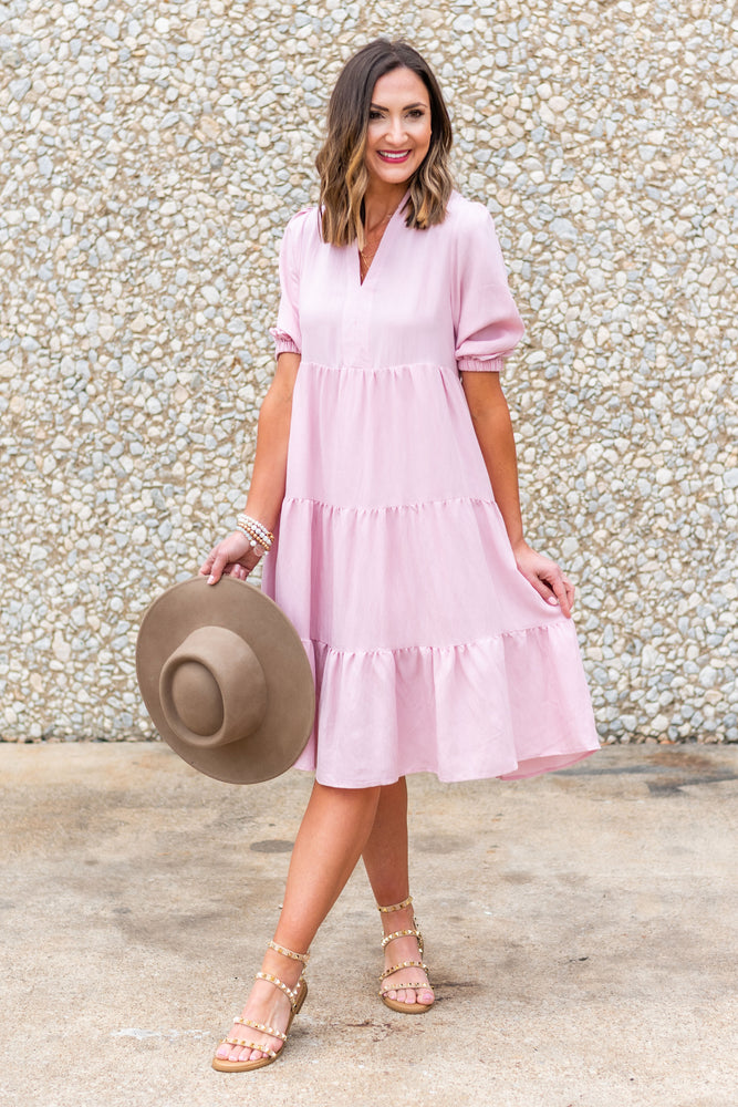 blush tiered peasant dress, dreaming of spring, February collection, spring outfits, new arrivals, affordable style, shop style your senses by mallory fitzsimmons