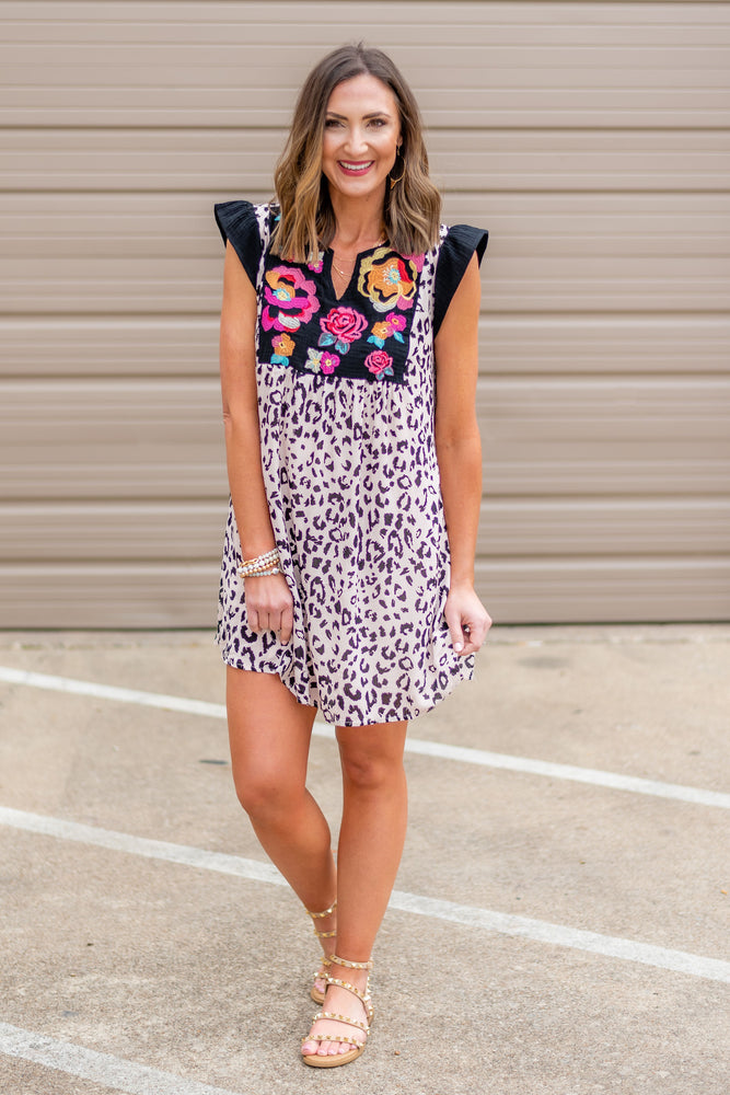 Blush animal print dress w/ embroidery, new arrival, spring outfit, shop style your senses by mallory Fitzsimmons