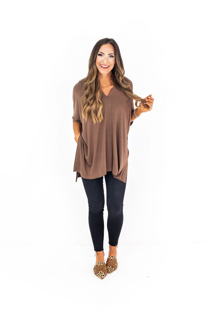 tunic top, mocha tunic, leggings, mom style, casual style, affordable fashion, poncho, grey tunic