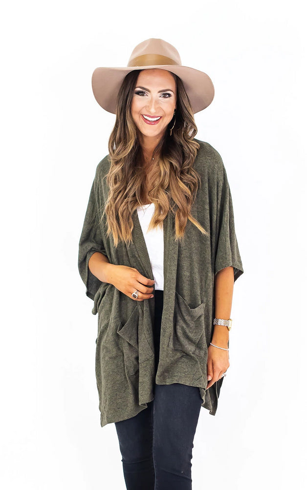 Short Sleeve Brushed Knit Open Cardigan