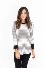 Black and White Stripe Rib Knit Top