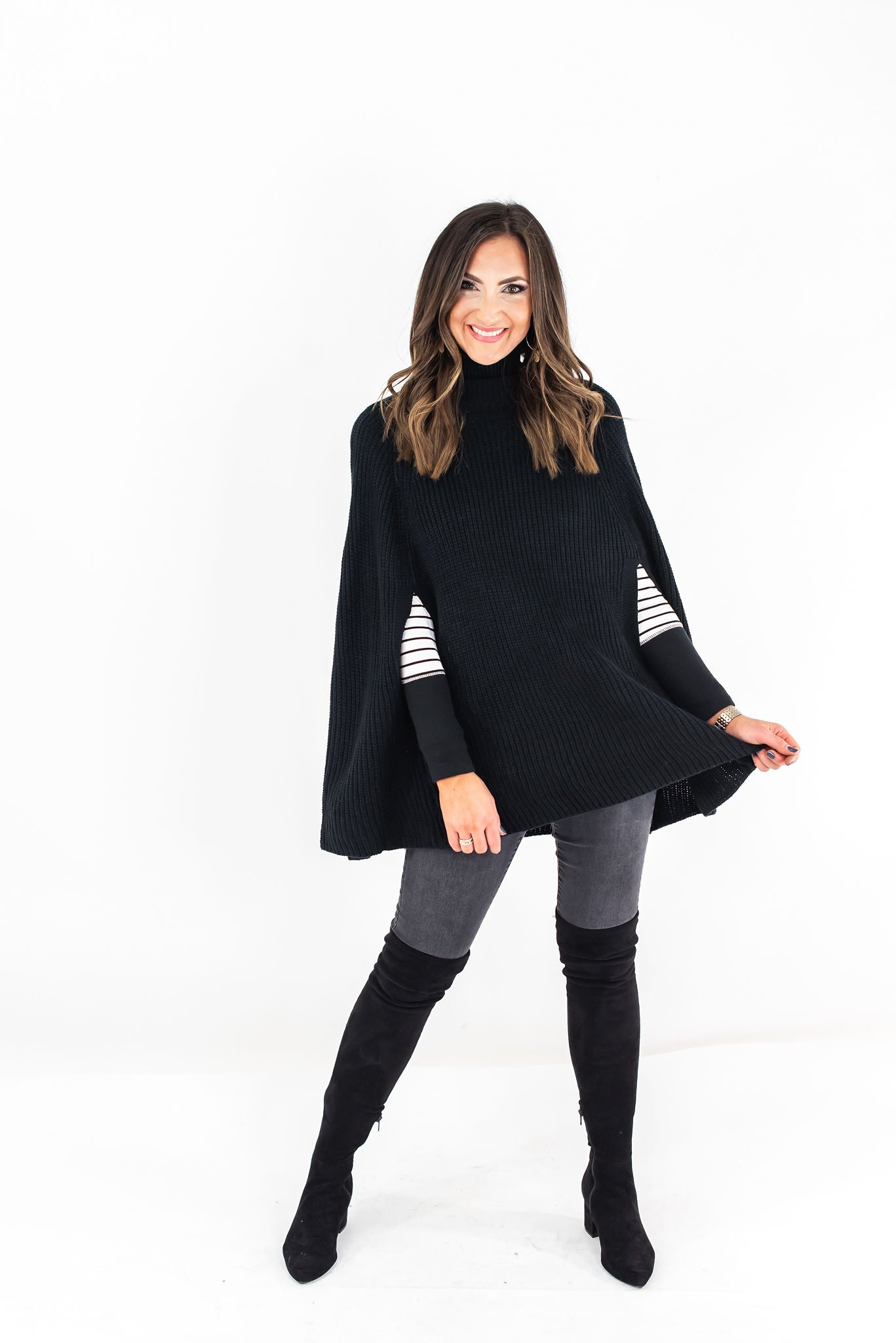 Black Turtle Neck Sweater Cape