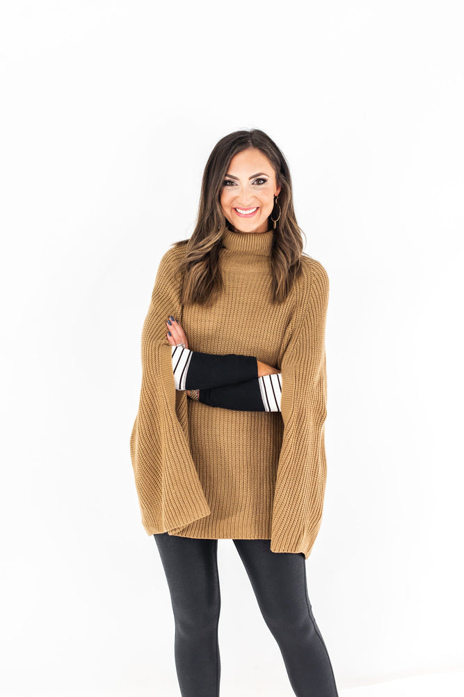 Camel Turtle Neck Sweater Cape