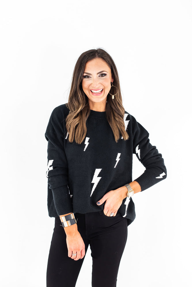Black Lightning Bolt Pullover