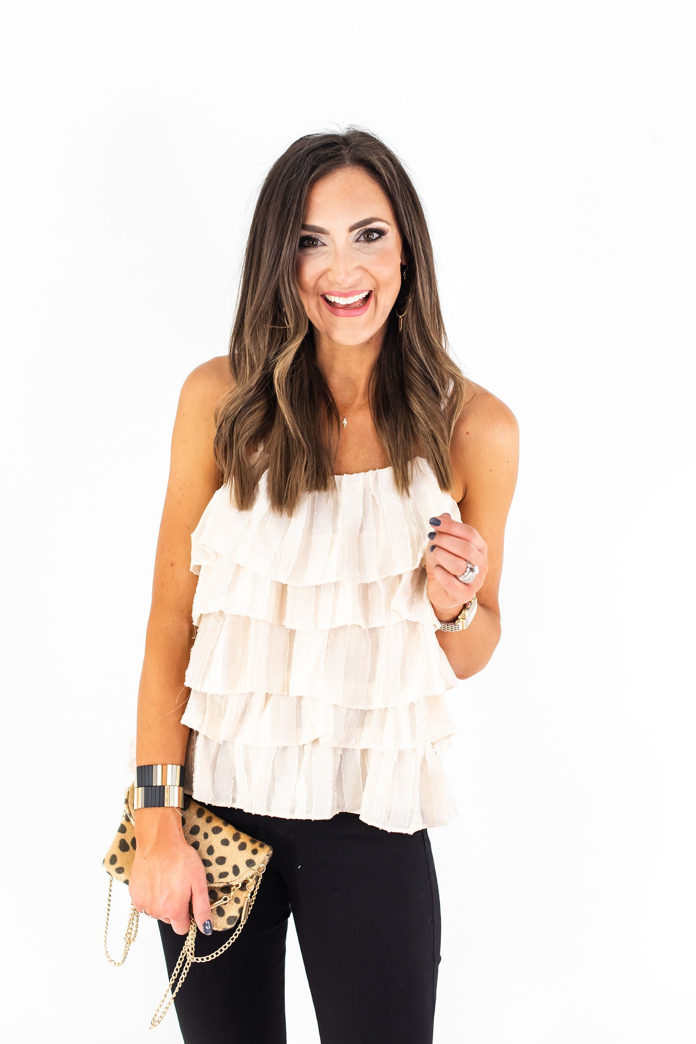 Ivory Tiered Strappy Ruffle Cami