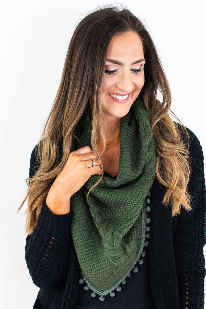 Olive Scarf with Pom Pom Trim