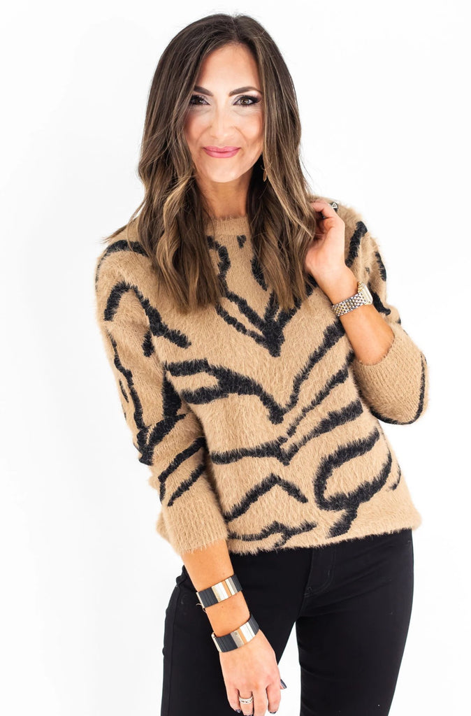 Camel Zebra Sweater