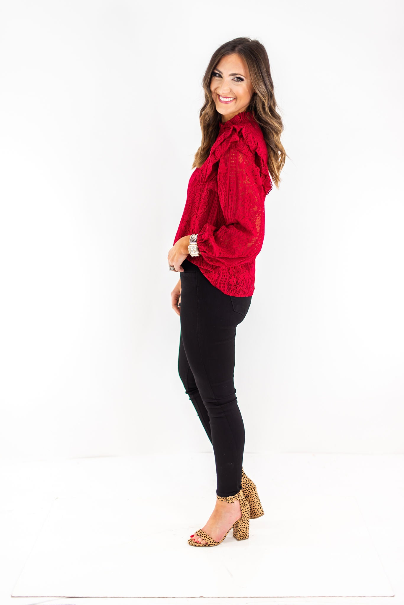 Cranberry Lace Long Sleeve Top