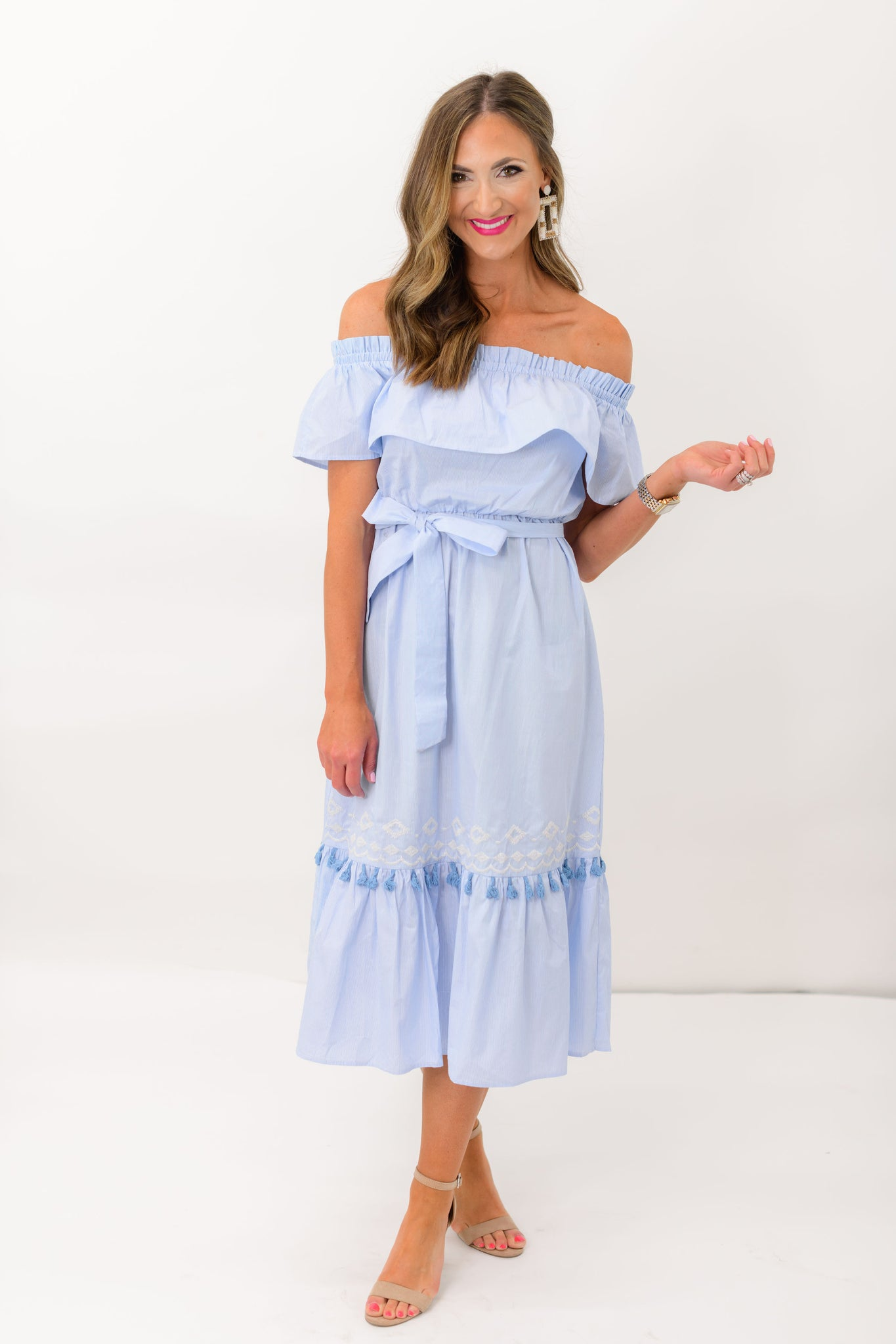 Light Blue Off the Shoulder Midi Dress w/ Tassels and Embroidery